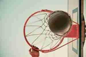 basketball ring with ball shot