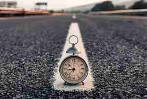 clock in the middle of the road