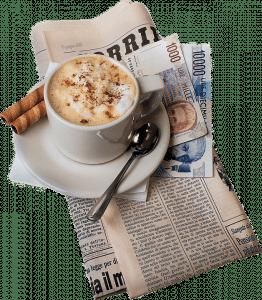 coffee above a newspaper
